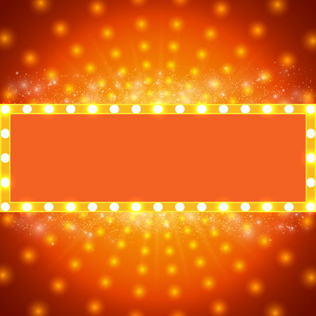 Shining background with retro light banner. Vectores