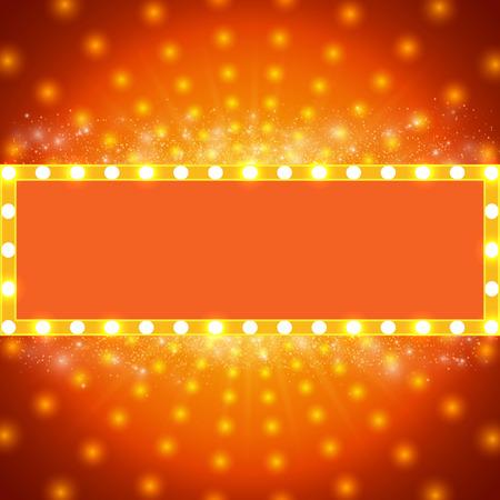 Shining background with retro light banner. Illustration