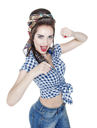 fighting styles: Young beautiful woman in retro pin-up style with her fists up, ready to fight isolated