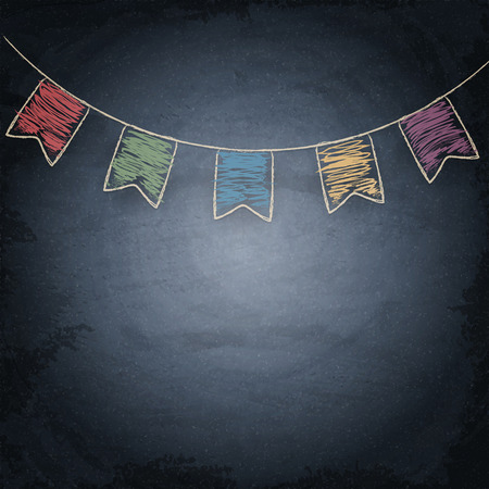 bunting flags: Chalkboard background with drawing bunting flags. Vector texture EPS10