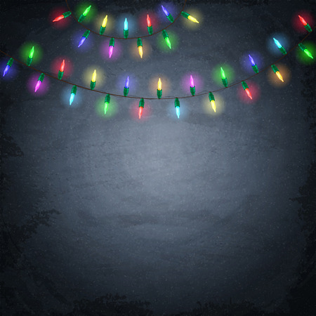 strings: Colorful glowing christmas lights on chalkboard background. Vector illustration