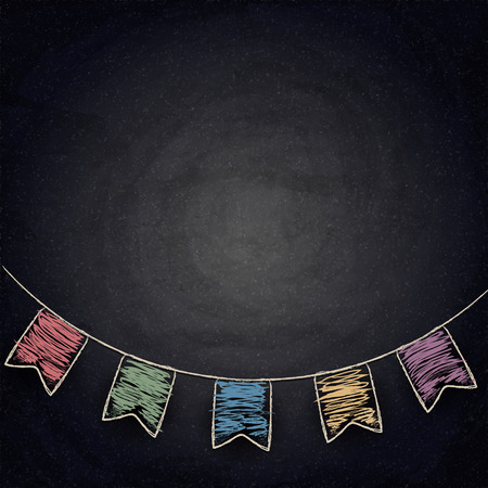 Chalkboard background with drawing bunting flags. Vector texture EPS10