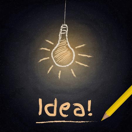 dibujo: Fondo de la pizarra con la lámpara de dibujo. Concepto de la idea. Ilustración vectorial