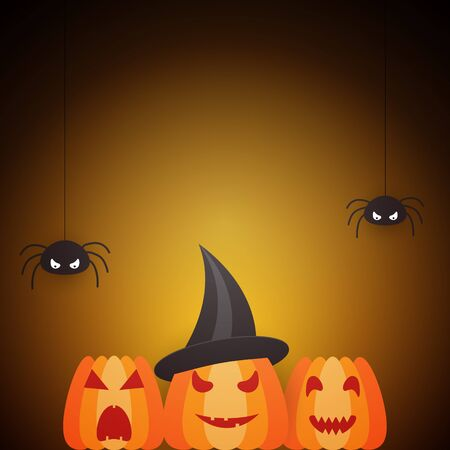 spider: Halloween design template with pumpkin, spiders and place for text Illustration
