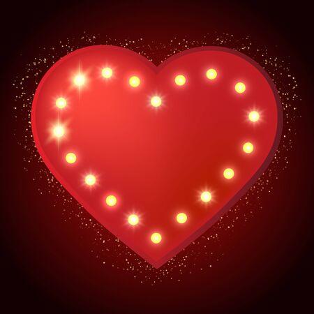 shiny hearts: Shining retro heart banner. Vector illustration EPS10