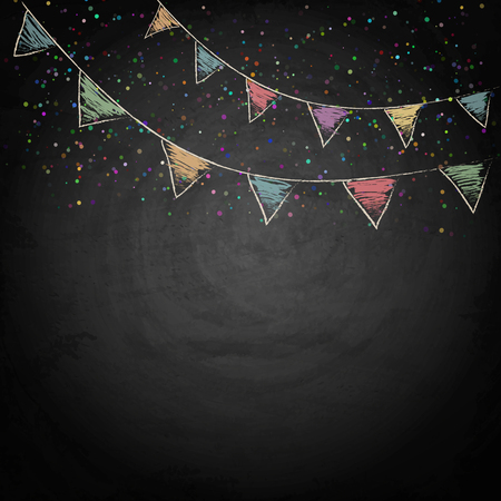 chalk drawing: Chalkboard background with drawing bunting flags. Vector texture EPS10