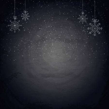 Christmas chalkboard background with snowflakes. Vector illustration Vectores