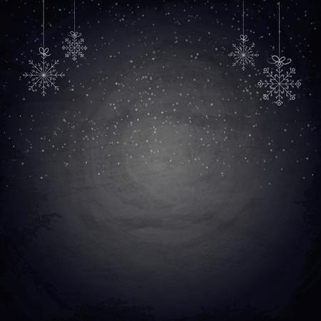 Kerst schoolbord achtergrond met sneeuwvlokken. Vector illustratie
