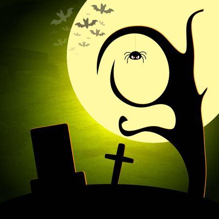dark landscape: Halloween vector illustration with moon and dark landscape. EPS10 Illustration
