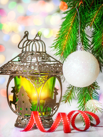 shine: Burning lantern with shine colorful bokeh background Stock Photo