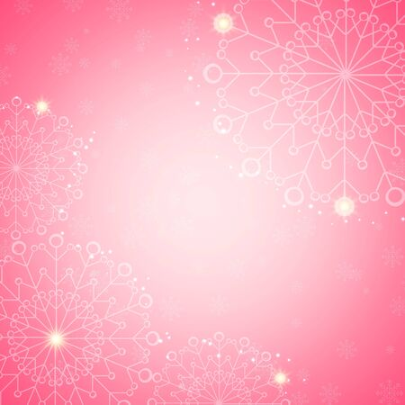 abstract pink: Snowflake abstract pink background with glow and snowfall