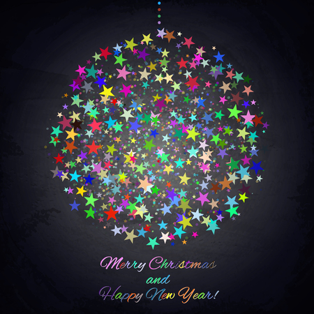 color balls: Colorful Christmas ball on chalkboard background. Vector illustration Illustration