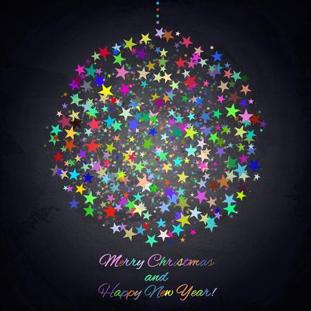 Colorful Christmas ball on chalkboard background. Vector illustration Illustration