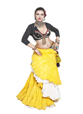 exotic dancer: Beautiful exotic belly tribal dancer woman isolated