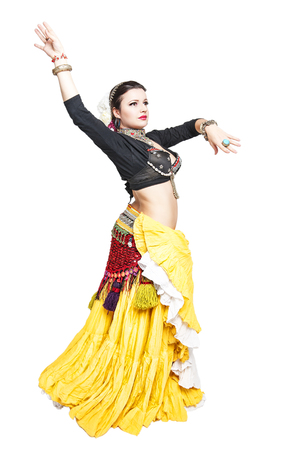 sexy indian girl: Beautiful exotic belly tribal dancer woman isolated