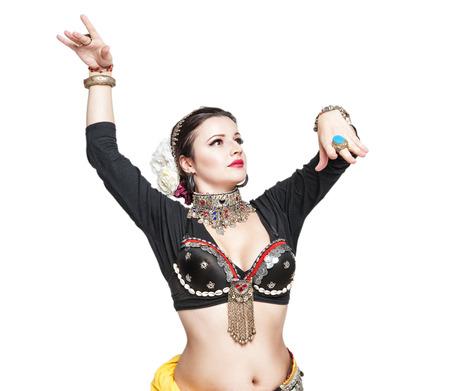 jolie fille: Belle ventre danseur exotique tribale femme isol� Banque d'images