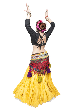 sexy woman standing: Beautiful exotic belly tribal dancer woman isolated