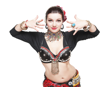 asian sexy girl: Beautiful exotic belly tribal dancer woman isolated