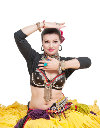 smile girl: Beautiful exotic belly tribal dancer woman isolated