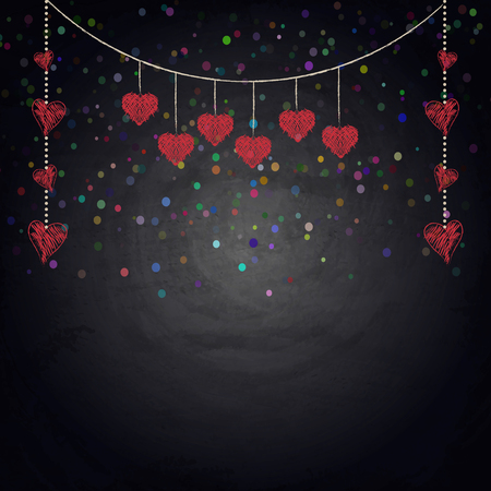 grunge wood: Drawing bunting hearts on blackboard. Valentine day illustration