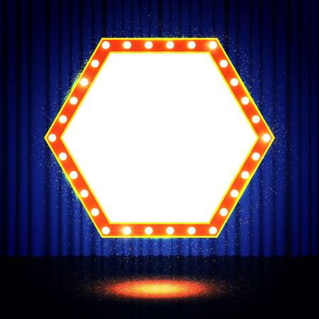 Glänzende Polygon retro Banner auf der Bühne Vorhang. Vektor-Illustration