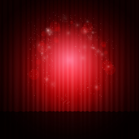 red curtain: Background with red curtain, light and dust. Vector illustration