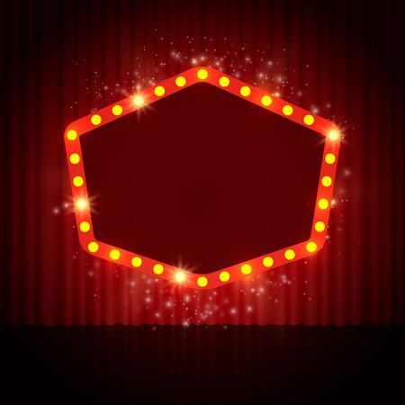 Shining retro casino banner on stage curtain. Vector illustration