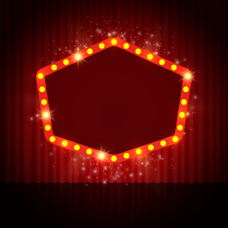 red theater curtain: Shining retro casino banner on stage curtain. Vector illustration