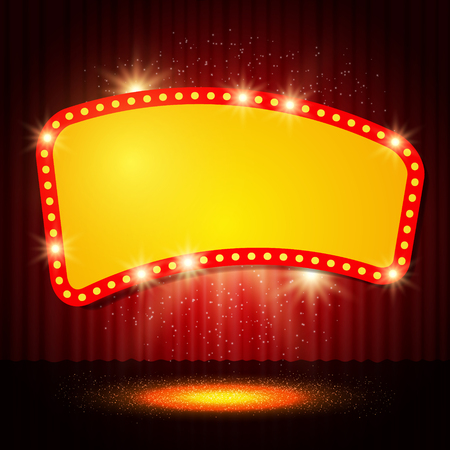 red sign: Shining retro casino banner on stage curtain. Vector illustration