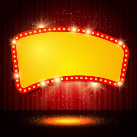 Shining retro casino banner op het podium gordijn. vector illustratie Stock Illustratie