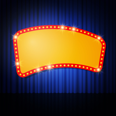 stage curtain: Shining retro casino banner on stage curtain. Vector illustration
