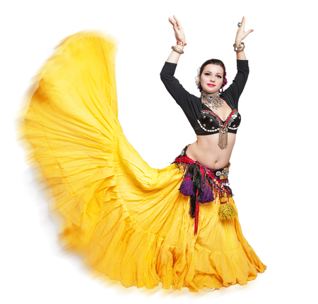 attractive girl: Beautiful exotic belly tribal dancer woman isolated