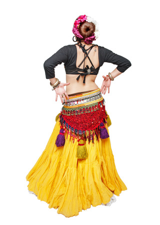 sensual girl: Beautiful exotic belly tribal dancer woman isolated