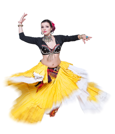sexy girl dance: Beautiful exotic belly tribal dancer woman isolated