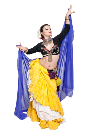 cute girl smiling: Beautiful exotic belly tribal dancer with blue scarf woman isolated Stock Photo