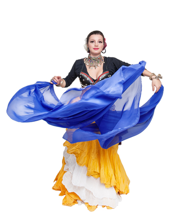 exotic dancer: Beautiful exotic belly tribal dancer with blue shawl woman isolated
