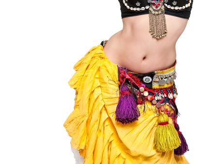 sexy belly: Beautiful exotic belly tribal dancer woman isolated