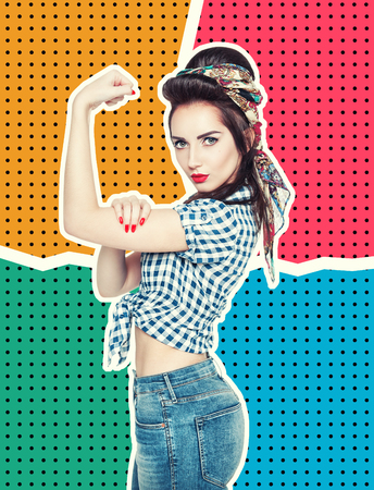 Woman in retro pin-up style with powerful gesture We Can Do IT on halftone background