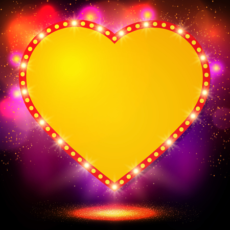bright lights: Shining background with retro heart banner. Vector illustration