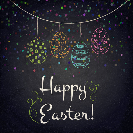 scratch board: Easter background with colorful eggs on chalkboard. Vector illustration