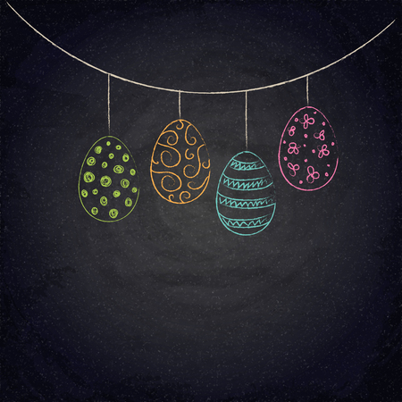 Easter background with colorful eggs on chalkboard. Vector illustration