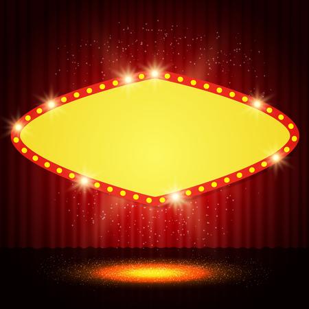 shine: Shining retro casino banner on stage curtain. Vector illustration