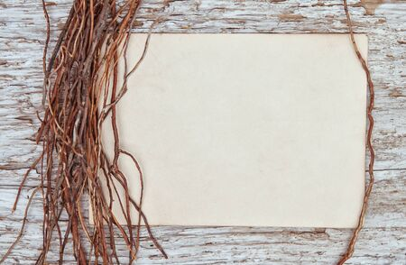 sheaf: Old wooden background with old paper and sheaf dry branches Stock Photo