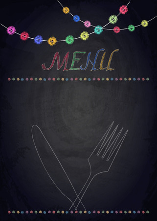 black: Menu of restaurant on black chalkboard background. Vector illustration