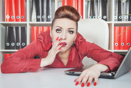 overwork: Tired bored businesswoman working in office. Overwork concept