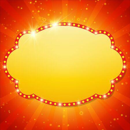 pelicula de cine: Fondo brillante con luz retro bandera casino. ilustración vectorial Vectores