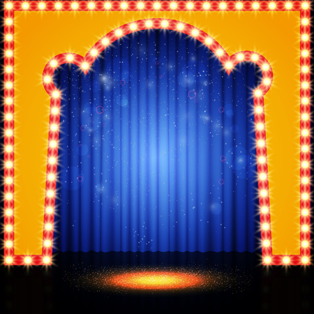 Empty retro stage with blue curtain. Vector illustration Illustration