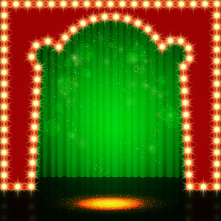 Empty retro stage with green curtain. Vector illustration Illustration