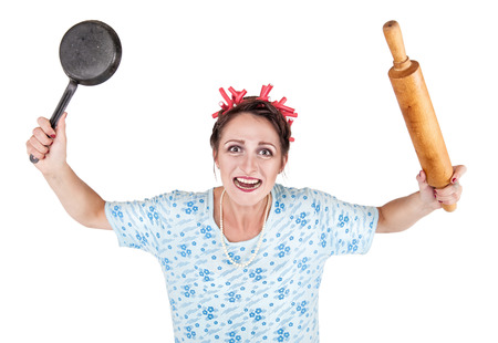 hair roller: Crazy housewife with rolling pin and pan isolated