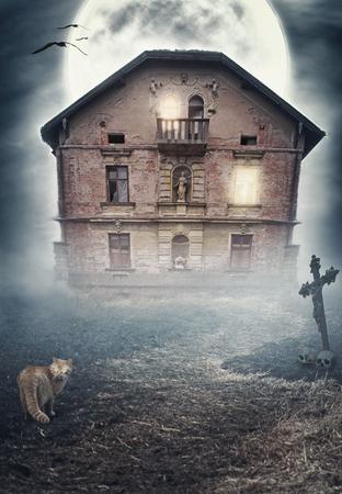 derelict: Haunted derelict old house in the night. Halloween design